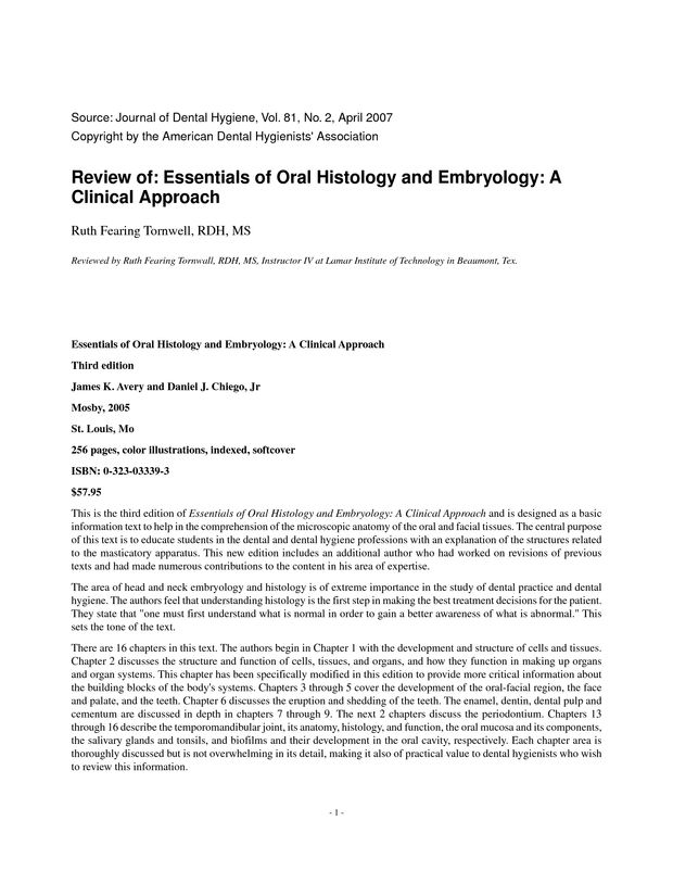 Review of: Essentials of Oral Histology and Embryology: A Clinical ...
